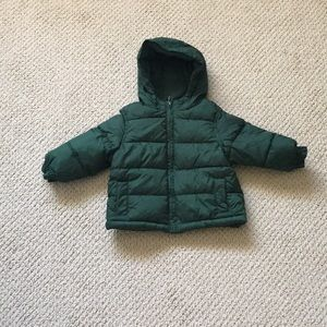 Gymboree boy green puffer coat size 12-24 months